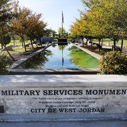 The Military Services Monument at West Jordan's Veterans Memorial Park is pictured on Monday, Sept. 28, 2020, where Rep Ben McAdams, D-Utah, discussed his bipartisan bill to prevent veteran suicides. The bill, which studies the connection between living in high-altitudes and rates of suicide, passed in the House and will now go to the president for his signature.