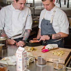 Pastry chef John Miele and Voltaggio.