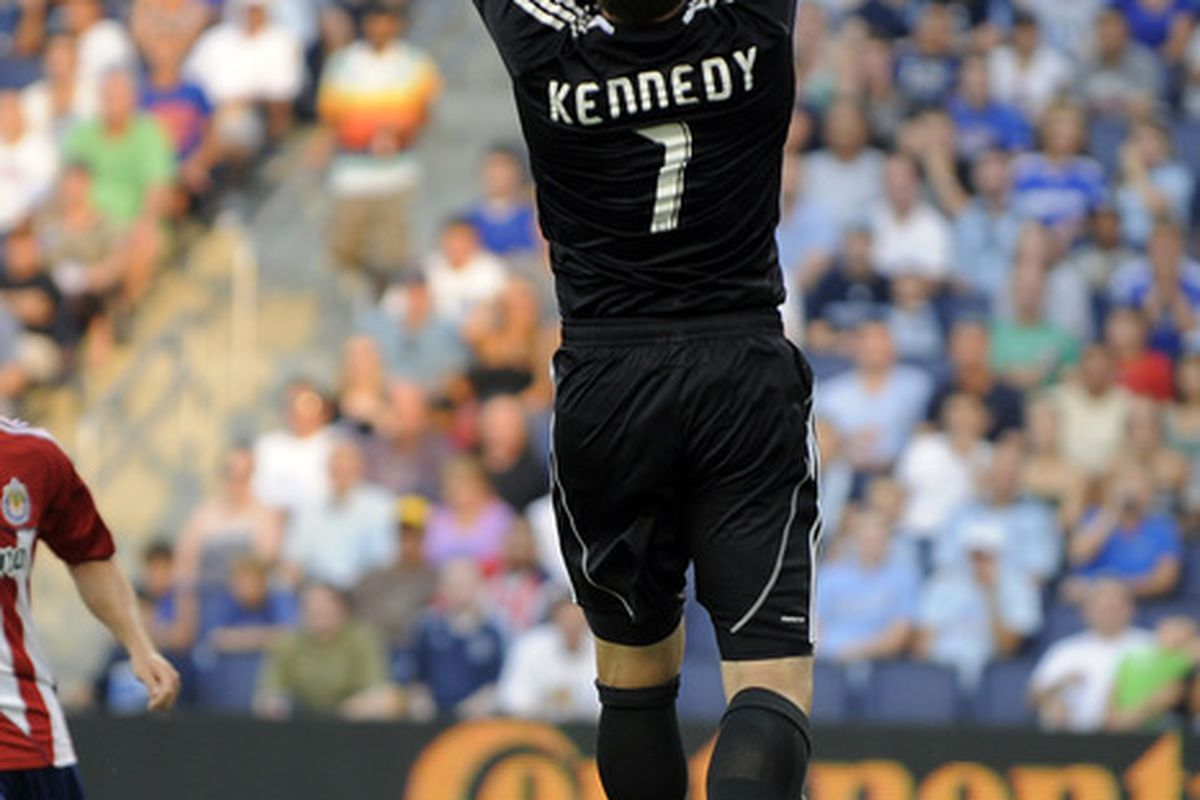 KANSAS CITY, KS - JULY 9:  Dan Kennedy #1 of Chivas USA leaps up to make a save against Sporting Kansas City on July 9, 2011 at LiveStrong Sporting Park in Kansas City, Kansas. (Photo by G. Newman Lowrance/Getty Images)