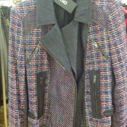 Tweed moto jacket, $125