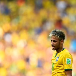 """Does <b>Neymar</b> have frosted tips like a Backstreet Boy? Oh yes <a href=""""http://racked.com/archives/2014/06/17/neymar-blonde-tips-world-cup.php"""">he do</a>."""