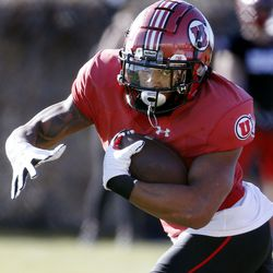 Utah Utes running back T.J. Green practices at the Spence and Cleone Eccles Football Center in Salt Lake City on Thursday, March 5, 2020.