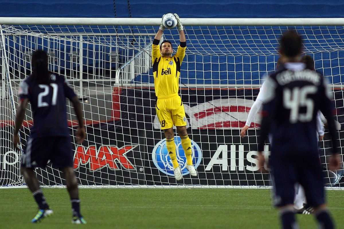 FOXBORO, MA - MAY 14:  Jay Nolly #18 of the Vancouver Whitecaps FC makes a save against the New England Revolution at Gillette Stadium May 14, 2011 in Foxboro, Massachusetts. (Photo by Gail Oskin/Getty Images)