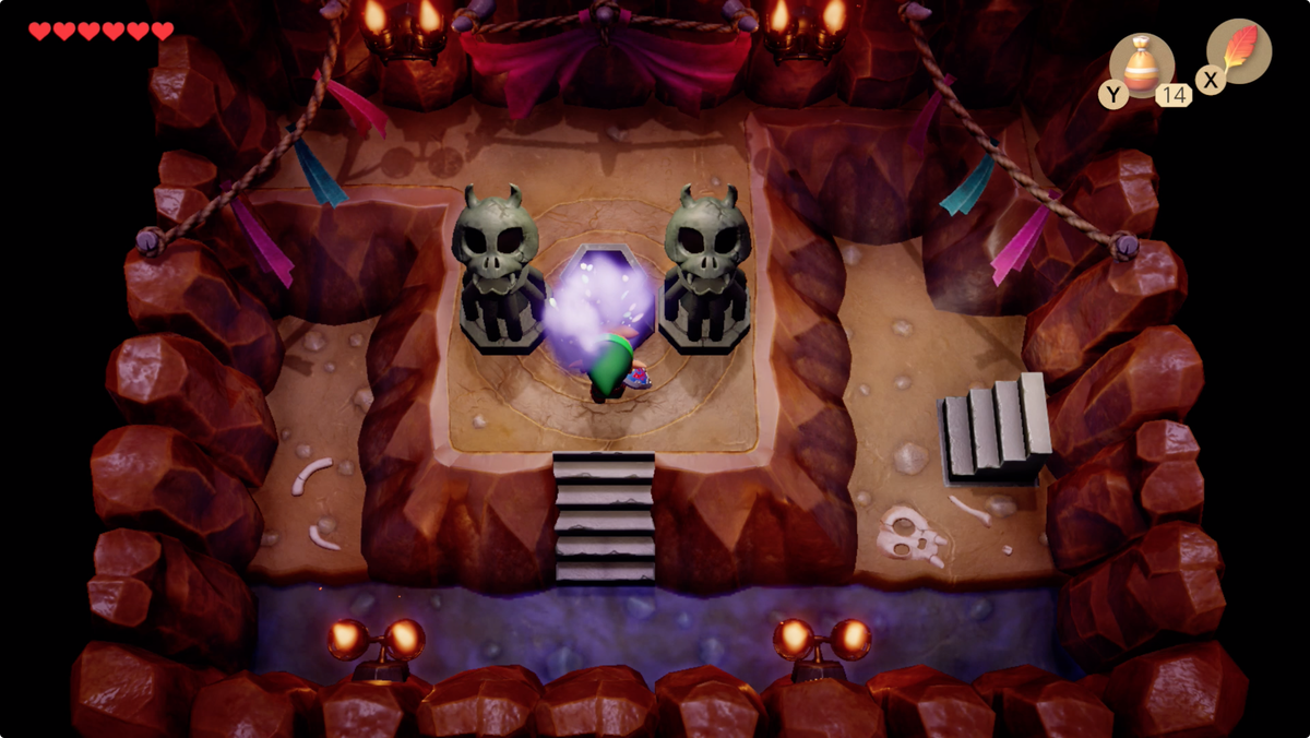 Link's Awakening Mysterious Forest Li'l Devil light the brazier and your Magic Powder inventory size will double