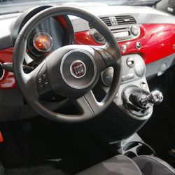 FILE - In this Nov. 17, 2010 file photo, the interior of the newly unveiled 2012 model of the Fiat 500, or Cinquecento, is seen at the LA Auto Show in Los Angeles. The stylish Italian subcompact isn't selling well, even though it looks cool and is fun to drive.