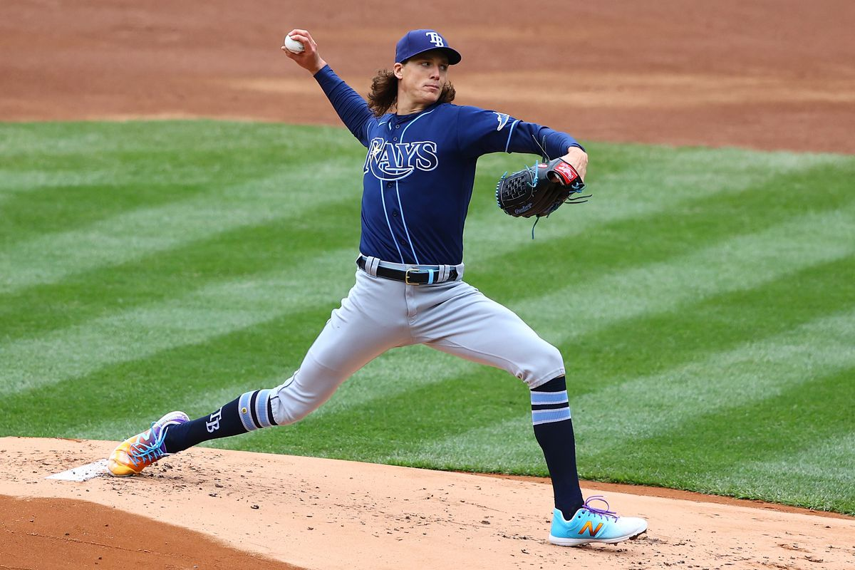 Tyler Glasnow #20 of the Tampa Bay Rays in action against the New York Yankees at Yankee Stadium on April 17, 2021 in New York City. Tampa Bay Rays defeated the New York Yankees 6-3.