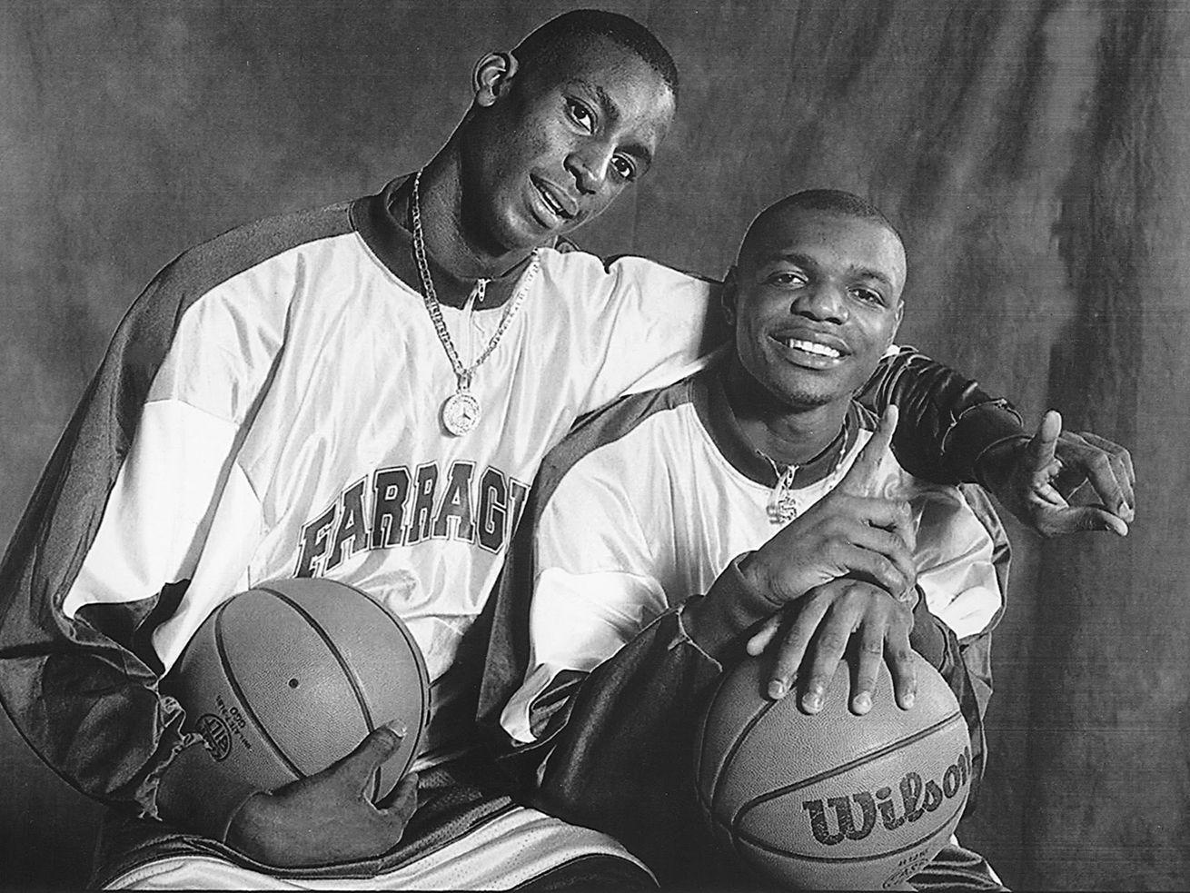 Farragut stars Kevin Garnett and Ronnie Fields shortly before the 1994-1995 basketball season.