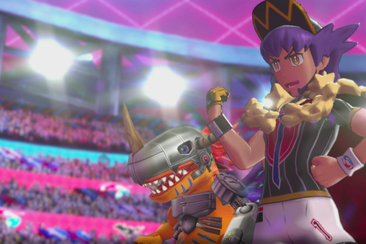 Pokemon champion Leon stands by a Digimon.