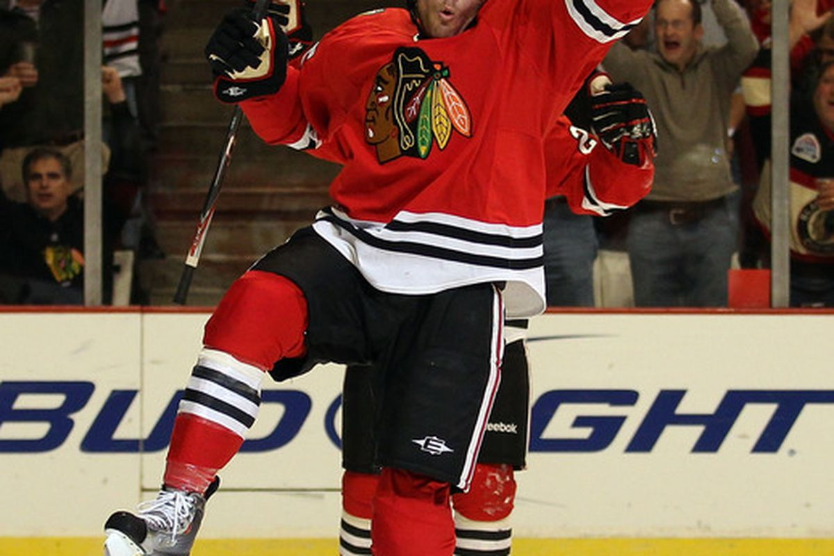 Viktor Stalberg of the Chicago Blackhawks celebrates a 1st period goal aganst the Vancouver Canucks at the United Center on October 20 2010 in Chicago Illinois. (Photo by Jonathan Daniel/Getty Images)