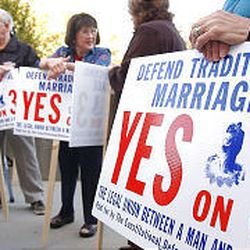 Supporters of Amendment 3 attend a news conference in Provo in which Utah Valley legislators spoke against gay marriage.