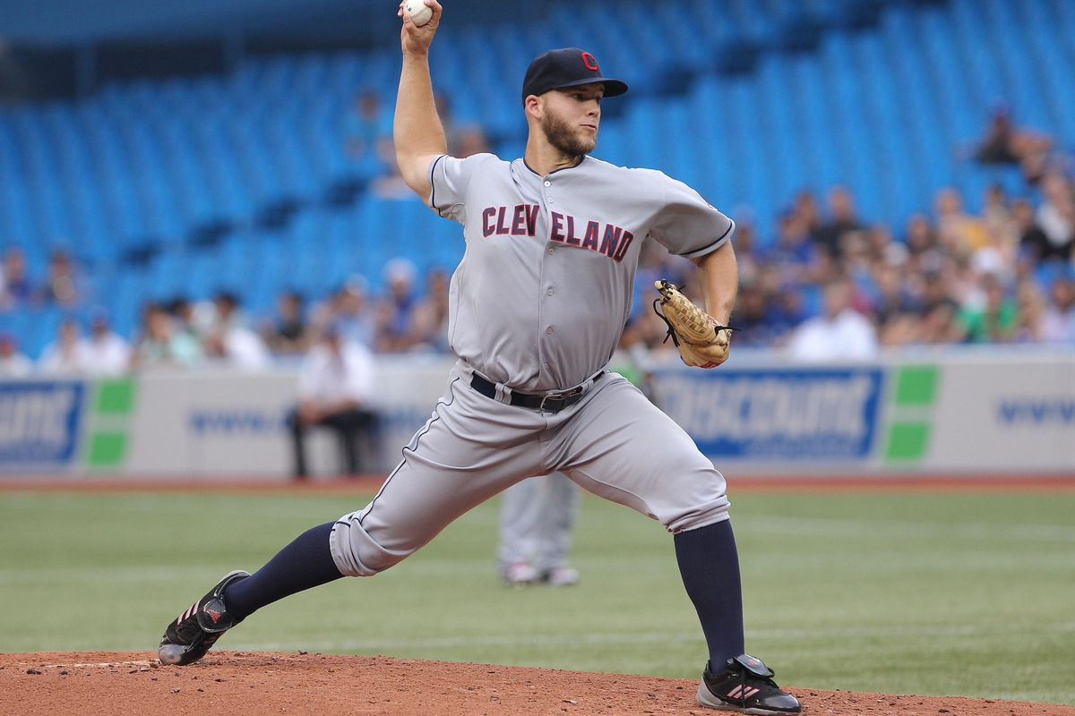 Jul 13, 2012; Toronto, ON, Canada; Cleveland Indians starting pitcher Justin Masterson (63) delivers a pitch against the Toronto Blue Jays at the Rogers Centre. The Indians beat the Blue Jays 1-0. Mandatory Credit: Tom Szczerbowski-US PRESSWIRE