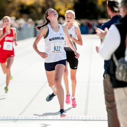 Ridgeline High's Madison Patrick places third in the 4A Girls State Cross-Country Championships at Highland High School in Salt Lake City on Wednesday, Oct. 23, 2019.