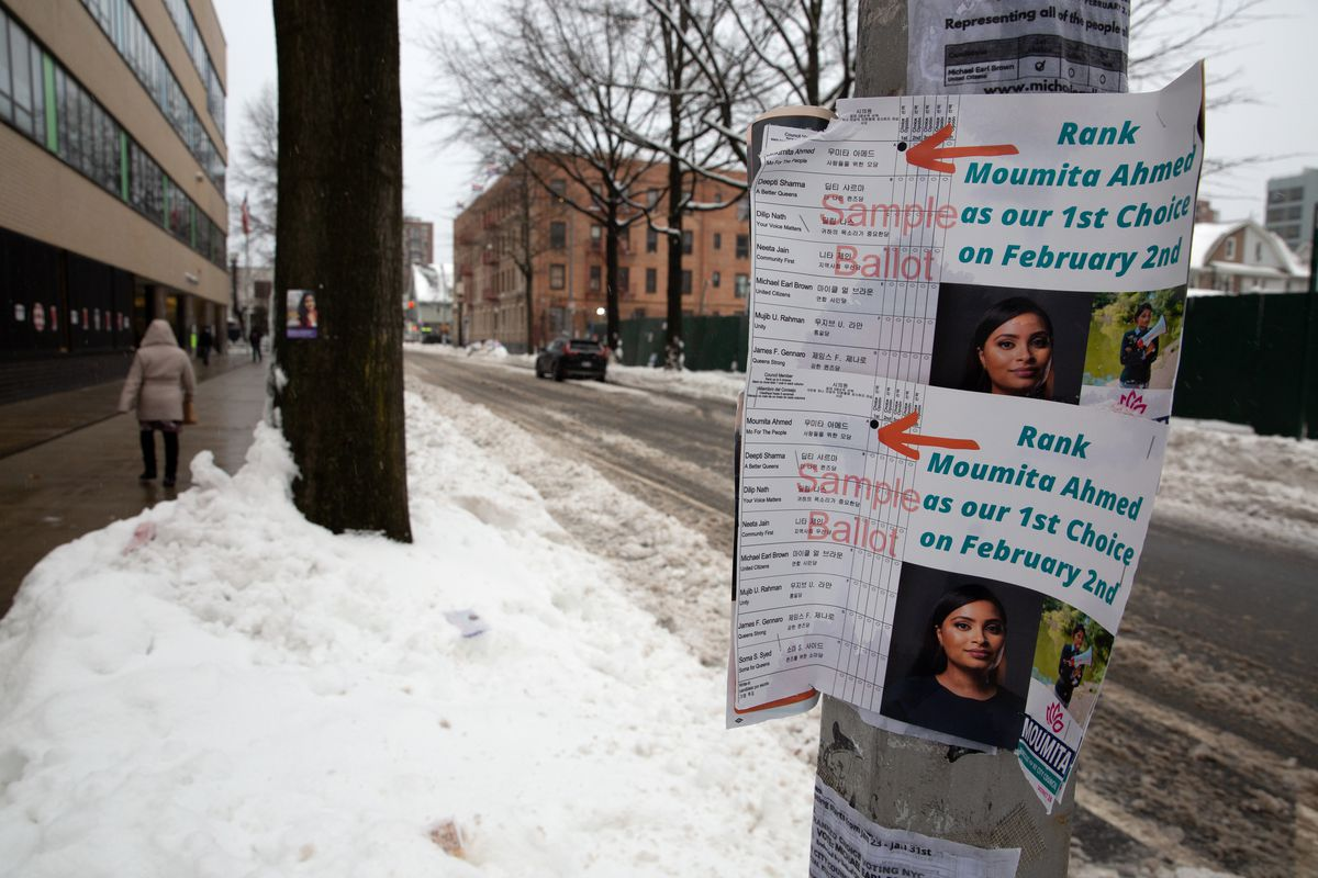 Candidates tried to show examples of how to rank choice vote during the Queens City Council District 24 race on Tuesday, Feb. 2, 2021.