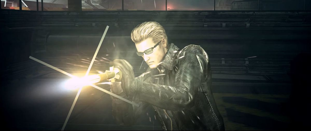 Wesker grabs an oncoming missile before attacking with Resident Evil 5