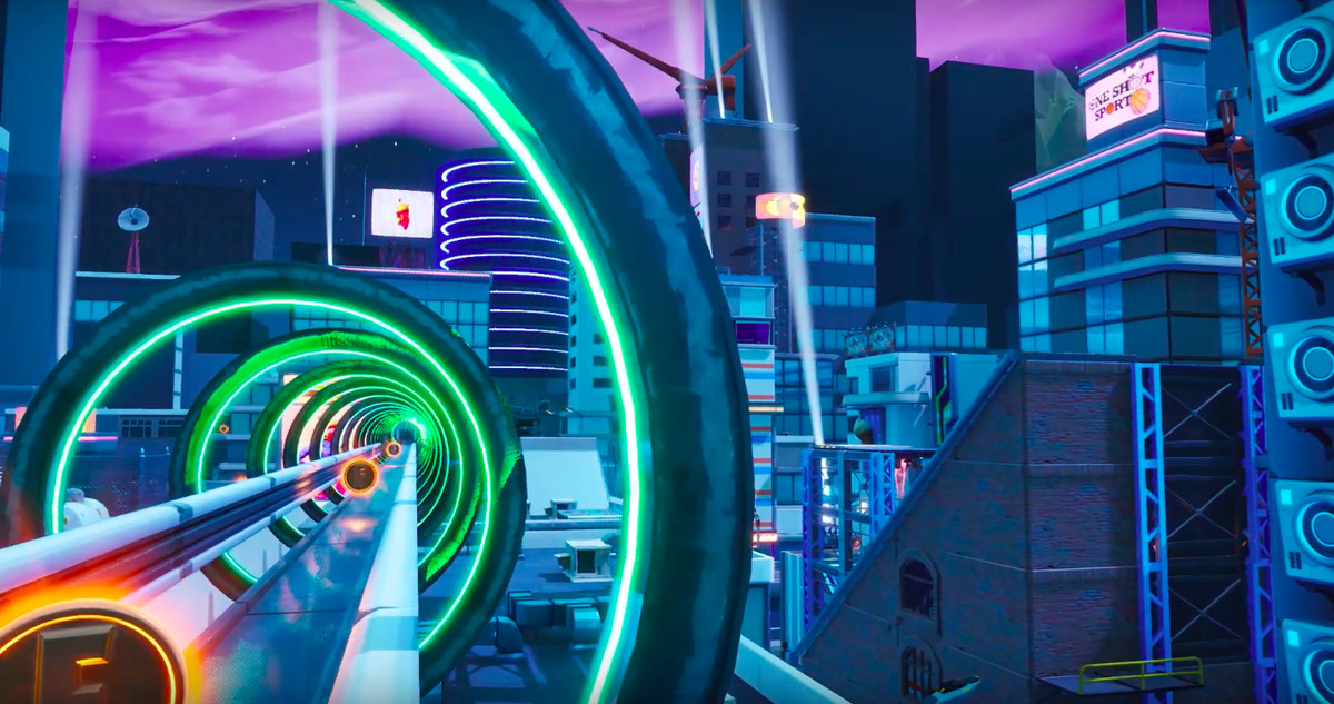 a Fortnite map with a tube for a monorail high in a futuristic city