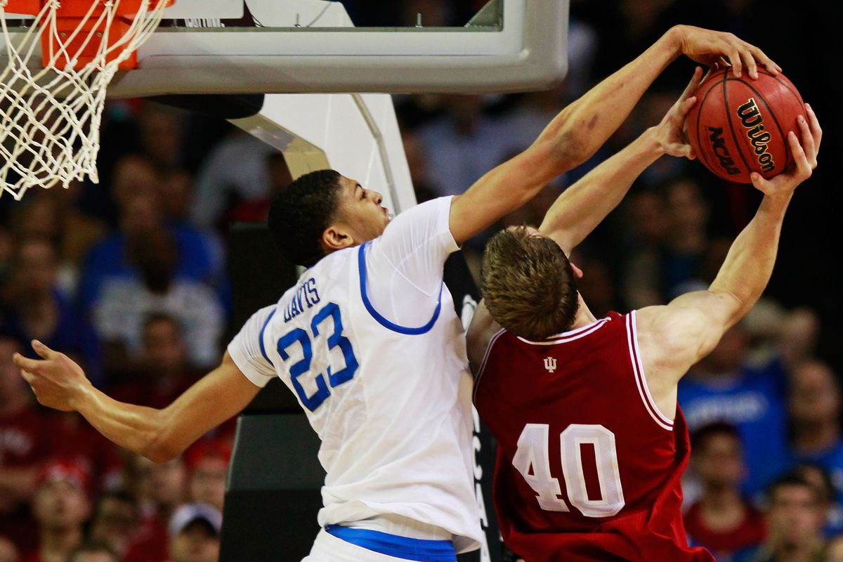 Anthony Davis keeping Cody Zeller off the scoreboard in an emphatic way during the 2012 NCAA Tournament.