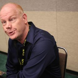 """Glenn Morshower, who was in """"24,"""" """"Star Trek: The Next Generation,"""" """"Transformers: Dark of the Moon,"""" """"X-Men: First Class"""" and many others, imitates people who can't figure out how they know him during a press conference at Utah's first Comic Con at the Salt Palace Convention Center in Salt Lake City on Thursday, Sept. 5, 2013."""