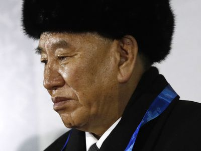 Kim Yong Chol, vice chairman of North Korea's ruling Workers' Party Central Committee, watches the closing ceremony of the 2018 Winter Olympics at Pyeongchang Olympic Stadium on February 25, 2018 in Pyeongchang, South Korea.