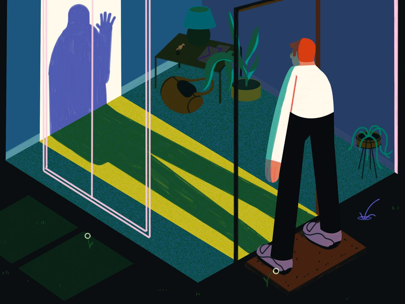 A man stands in the dark staring in to an empty room. His shadow shows that his hand is up against the glass. Illustration.