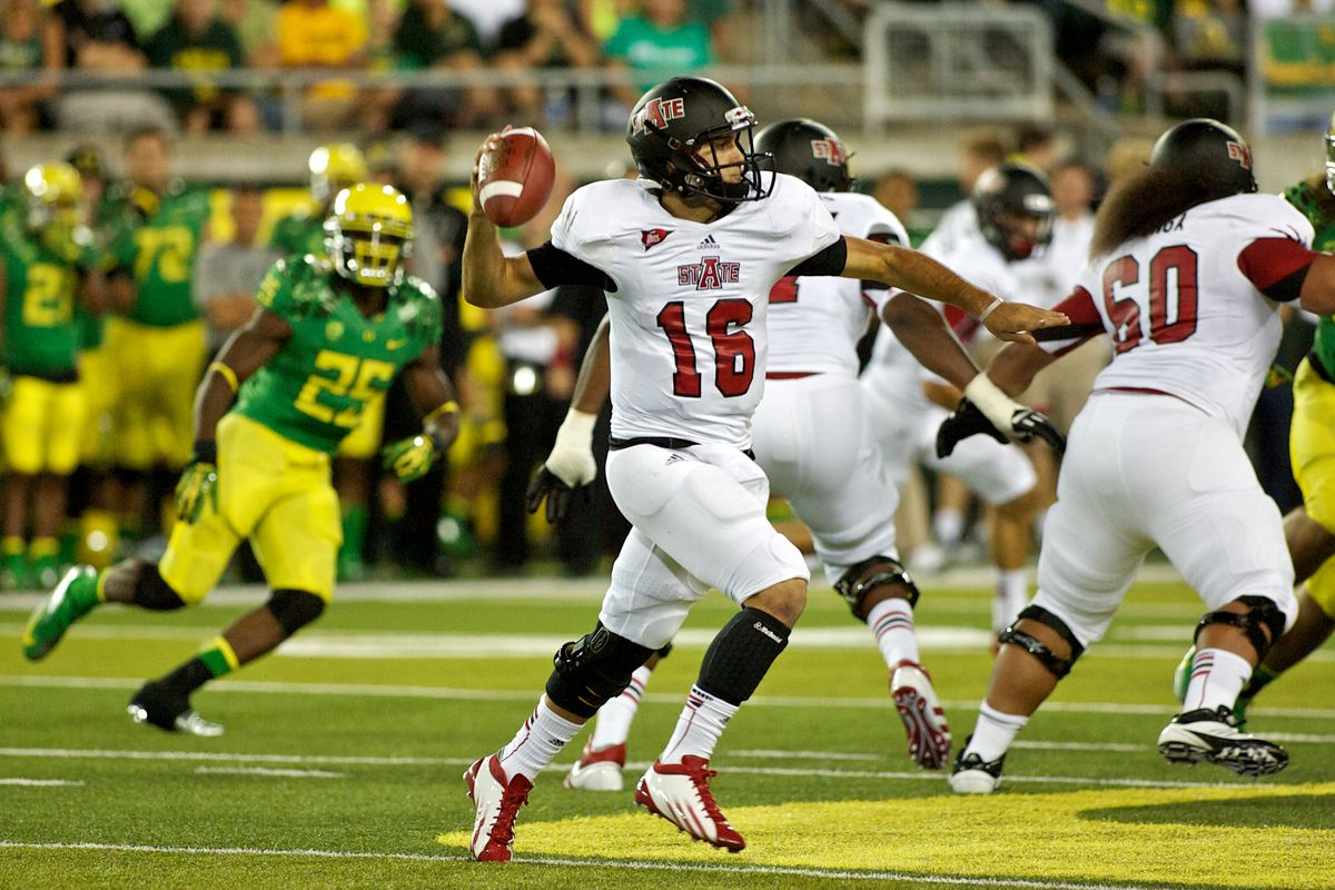 (Photo by Craig Mitchelldyer/Getty Images)  Will Oregon get after the Quarterback more in game 2 of the 2012 season?