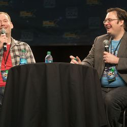 Authors, Brandon Mull and Brandon Sanderson talk and answer questions from fans Saturday, April 19, 2014 at Salt Lake Comic Con.