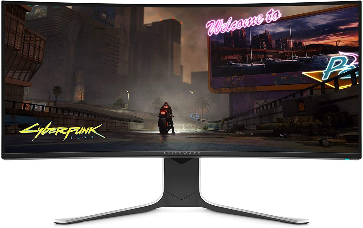 A product shot of the Alienware curved gaming monitor