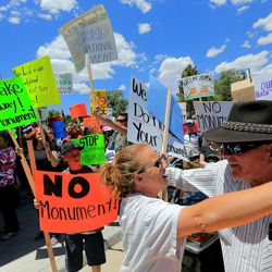 Protesters opposed to a Bears Ears National Monument chant outside a meeting attended by Interior Secretary Sally Jewell during her visit to Canyon Country in southern Utah on Thursday, July 14, 2016. During her trip to the region, she said she was shocked by the lack of protection for Native American cultural sites. Today, President Barack Obama declared the Bears Ears National Monument in southeast Utah.