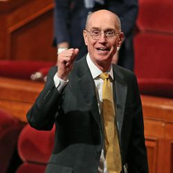 President Henry B. Eyring at the end of the morning session of the 183rd Semiannual General Conference of the Church of Jesus Christ of Latter-day Saints Sunday, Oct. 6, 2013, in Salt Lake City.