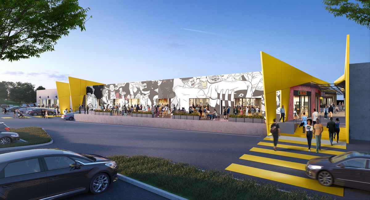 A rendering shows a sprawling mural on the outside of the development. Large yellow entrances greet patrons from the parking lot.