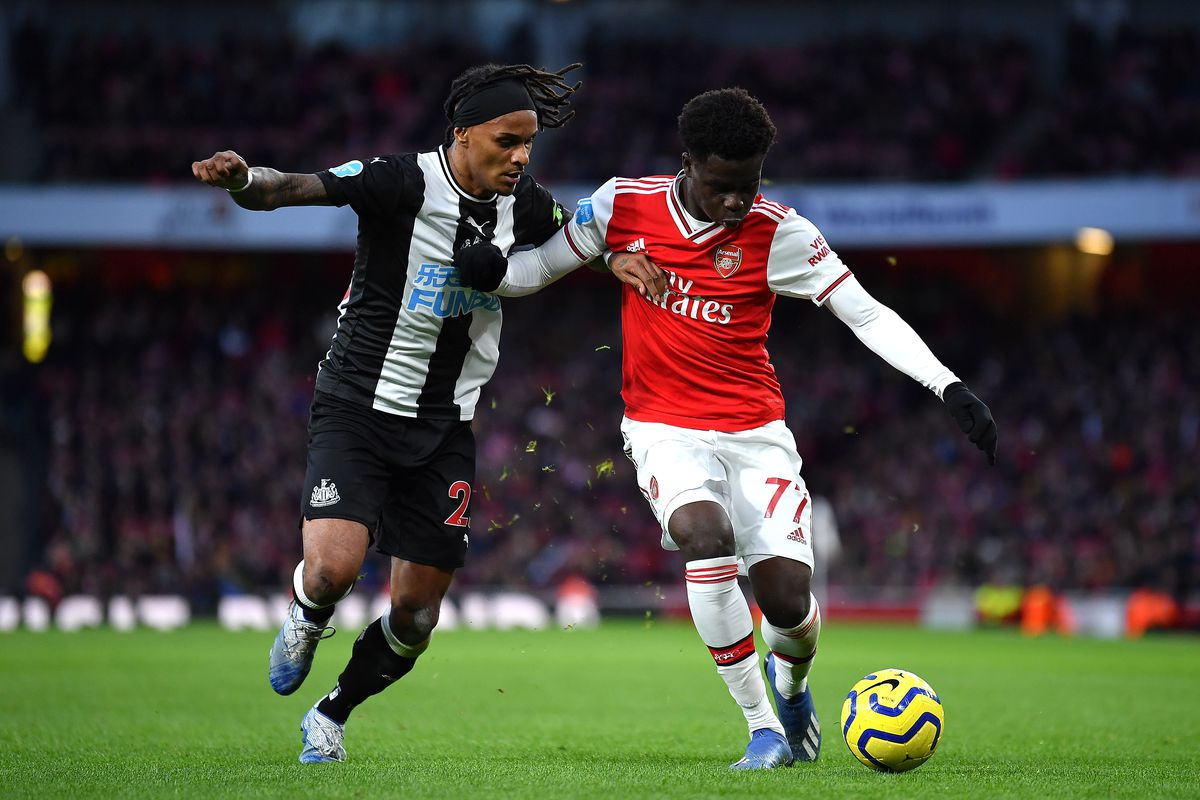 Image result for bukayo saka vs newcastle 2020