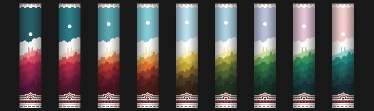 A series of columns goes from night to day with a sunset design