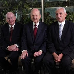President Russell M. Nelson of The Church of Jesus Christ of Latter-day Saints, center, during an interview in Bogota, Colombia, on Monday, Aug. 26, 2019. At left is Elder Quentin L. Cook of the Quorum of the Twelve Apostles. At right is Elder Enrique R. Falabella, General Authority Seventy of The Church of Jesus Christ of Latter-day Saints. They previously met with President Ivan Duque of Colombia.