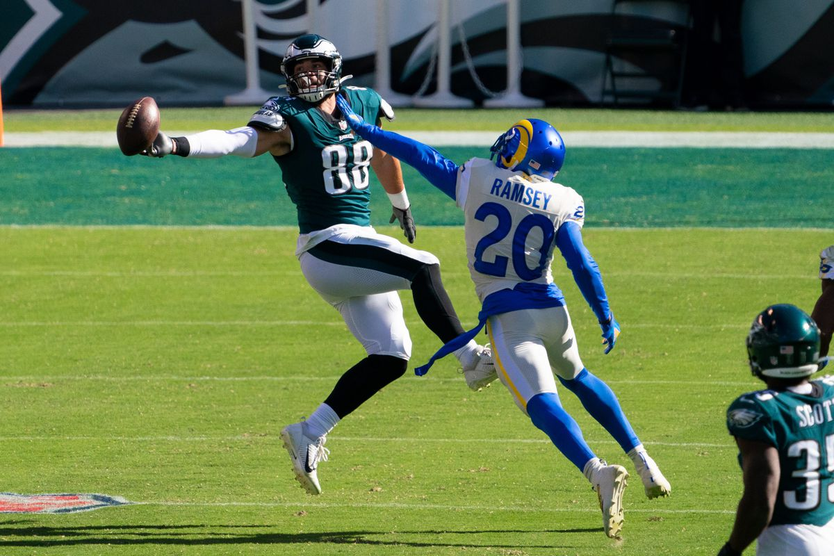Philadelphia Eagles tight end Dallas Goedert (88) is unable to catch the ball as Los Angeles Rams cornerback Jalen Ramsey (20) defends during the fourth quarter at Lincoln Financial Field.
