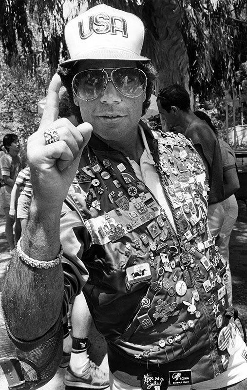 Man wearing Olympic pins, 1984