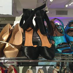 From left: Giuseppe Zanotti open-toe pumps, $247; Isabel Marant furry wedges (price not listed), Tabitha Simmons heels, $209 (from $1,245)