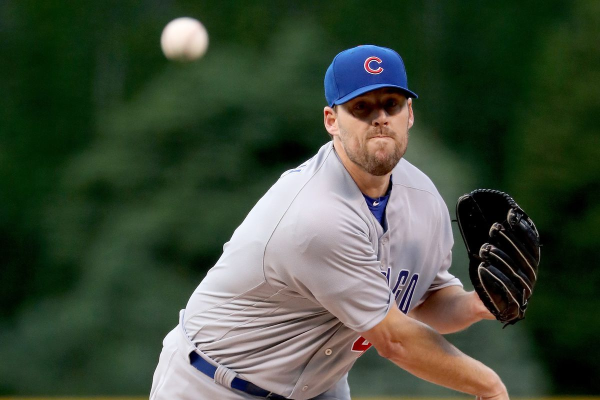 DENVER, CO - MAY 09:  Starting pitcher John Lackey #41 of the Chicago Cubs throws in the first inning against the Colorado Rockies during the second game of a double header at Coors Field on May 9, 2017 in Denver, Colorado.  (Photo by Matthew Stockman/Getty Images)