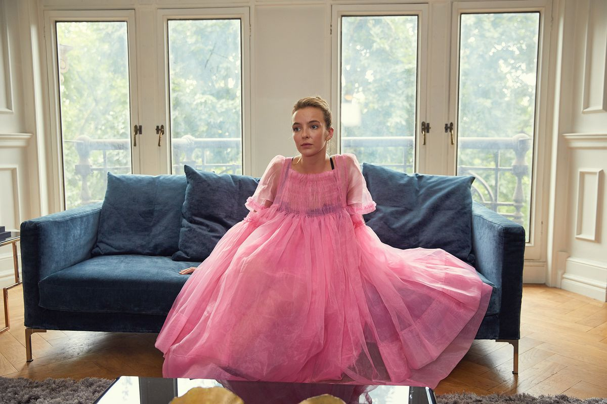 Killing Eve - Villanelle in pink tulle dress on couch