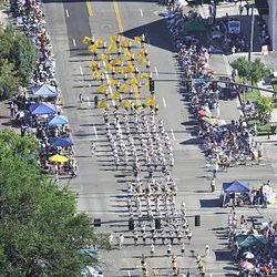 Parade entrants head down the route in the Days of '47 Parade in Salt Lake City Saturday.