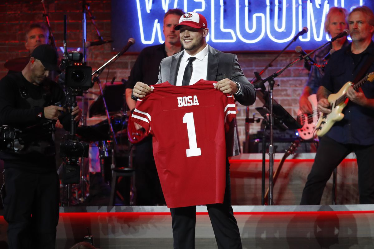 Nick Bosa poses with his San Francisco 49ers jersey at the 2019 NFL Draft.
