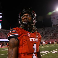 Utah Utes defensive back Boobie Hobbs (1) enters the field to warm up before the game against the Colorado Buffaloes at Rice-Eccles Stadium in Salt Lake City on Saturday, Nov. 25, 2017.