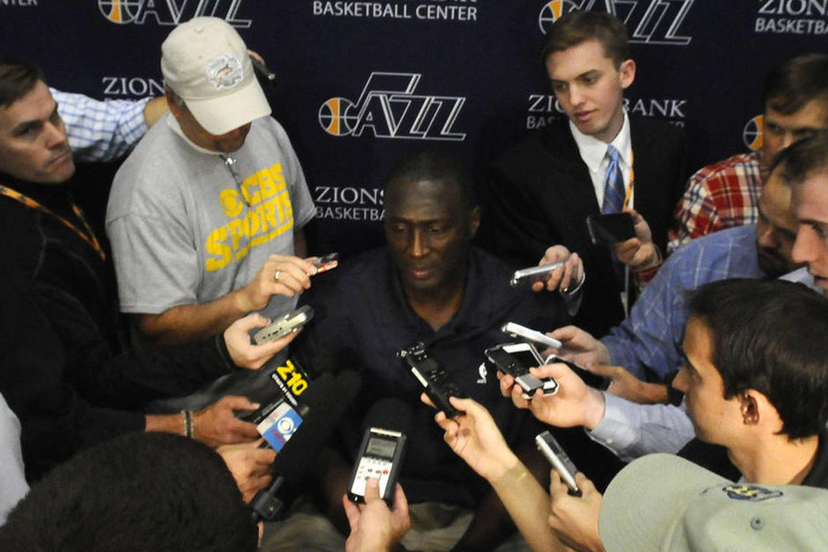 Jazz Head Coach Tyrone Corbin speaks answers questions during media day at the Zions Bank Basketball Center on Monday, September 30, 2013.