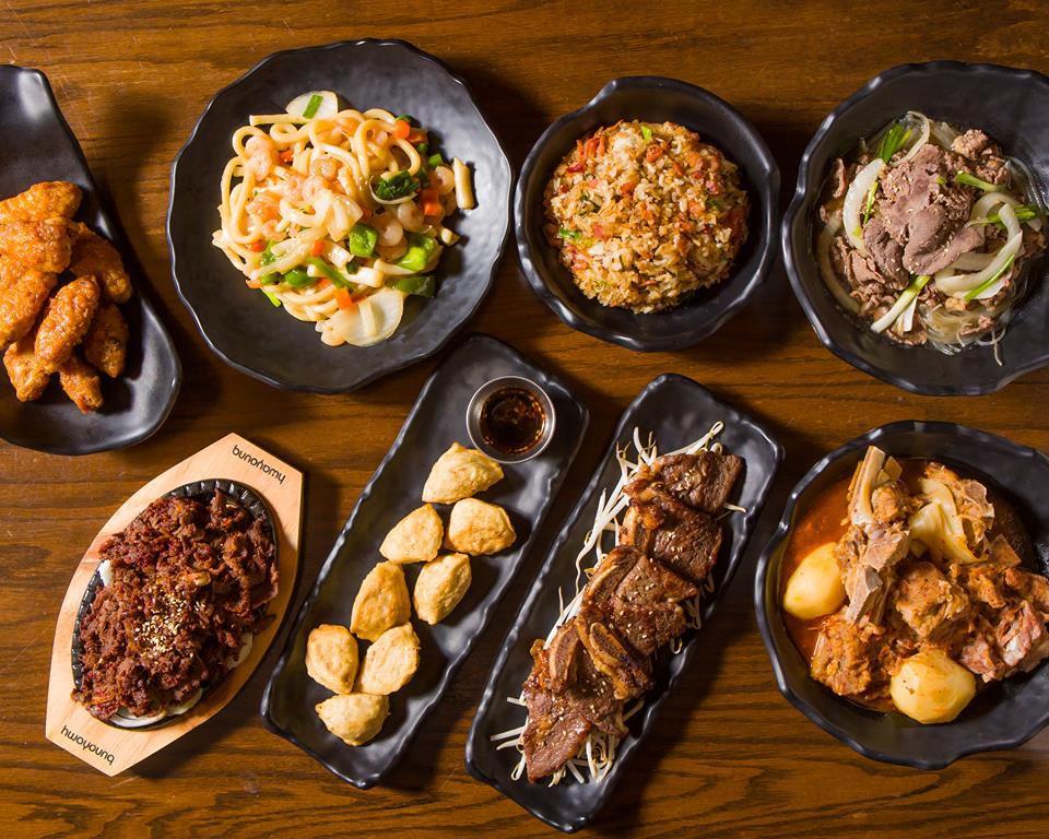 A spread of food at Sojuba