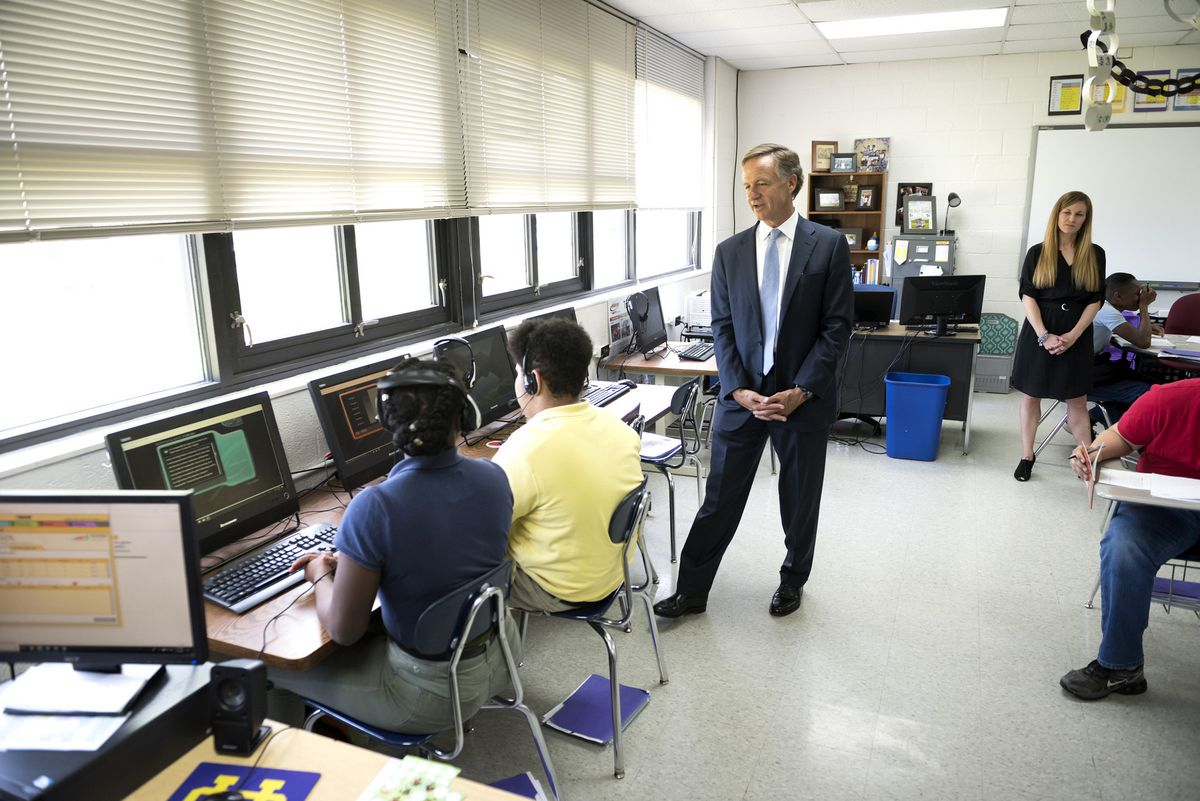 Gov. Bill Haslam visits in May with students in the computer lab at Union City Middle School in northwest Tennessee.