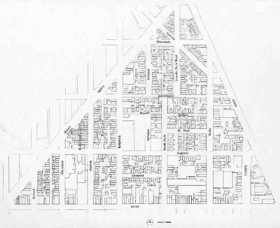 A vintage Old Town Triangle street map | Courtesy: The Old Town Triangle Association