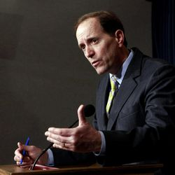 FILE In this March 18, 2010 file photo, Rep. Dave Camp, R-Mich. gestures during a news conference on Capitol Hill in Washington. Camp, chairman of the House Ways and Means Committee, the House's top tax writer, said Monday that he will listen to Mitt Romney's proposals for limiting tax breaks for the wealthy, but did not commit himself to adopting plans offered by the likely Republican presidential nominee.