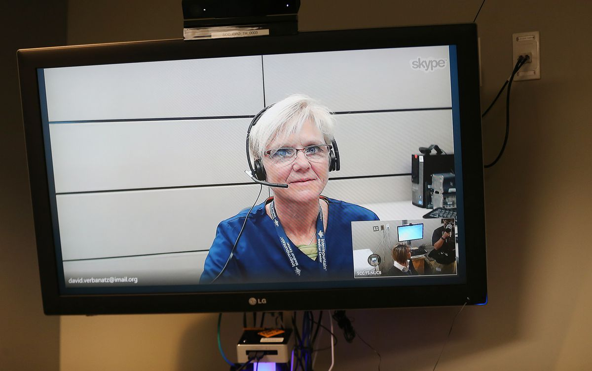 Lory Maddox demonstrates Intermountain Healthcare's Connect Care Pro at its testing laboratory in Midvale on Wednesday, Feb. 28, 2018.
