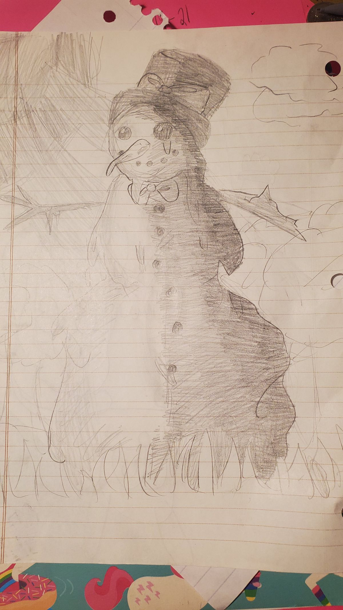 A snowman sketch by Elizabeth F., 13, a seventh-grader at Kimball Middle School in Elgin.