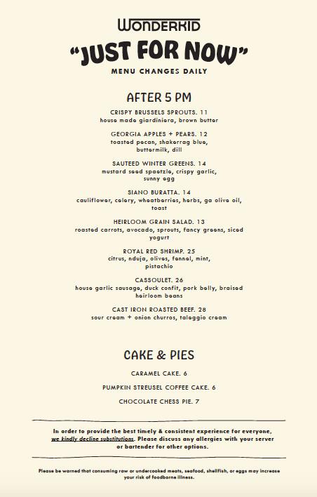 Post 5 pm food menu