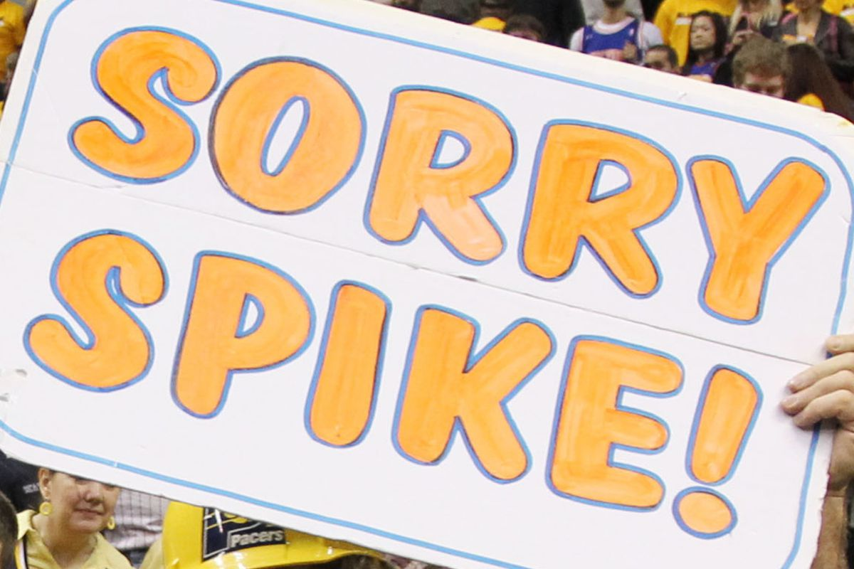 My cat's name is Spike.  If he could read he'd think I was apologizing to him.