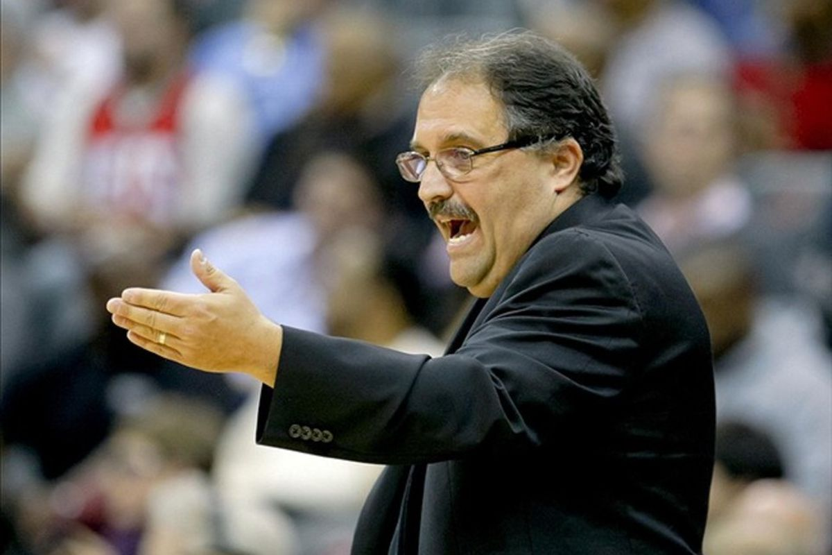 Feb 22, 2012; Newark, NJ, USA;  Orlando Magic head coach Stan Van Gundy during the second half against the New Jersey Nets at the Prudential Center. Orlando Magic defeat the New Jersey Nets 108-91. Mandatory Credit: Jim O'Connor-US PRESSWIRE